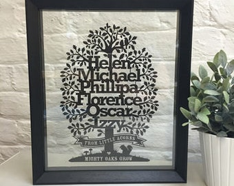 Papercut Family Tree/Personalised Papercut Oak Tree/Wedding/Anniversary Gift/Paper Cut/From Little Acorns Mighty Oaks Grow/Family Motto