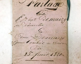 Antique French Handwritten Sepia Script Document Timbre Royal Public Revenue Dividing Property Partage 1820 Photo Prop 1800s