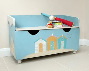 Seaside theme painted,upcycled, restored Toybox/blanket chest