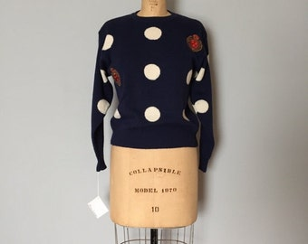 30% OFF WINTER SALE... white circles navy blue sweater | crown wreath pullover