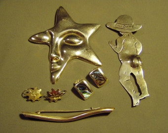 Vintage Sterling Silver Lot 3 Pins Pendants 2 Pairs Earrings Mexico Thailand Not Scrap  8847
