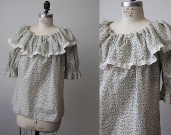 SALE 50% OFF Vtg 70s Floral Prairie Ruffled Blouse Shirt Top Blue White Lace Boho Bohemian Hippie M