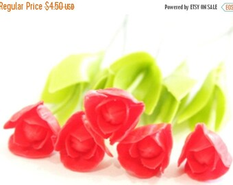 Miniature Polymer Clay Flowers Supplies Karel Doorman Red Parrot Tulip 6 stems