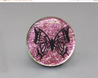 FLASH SALE Dichroic Glass Cabochon with an enamel Butterfly