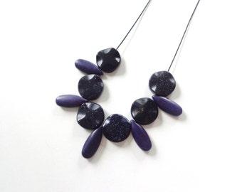 Lapis blue necklace, fan gemstone necklace, boho blue necklace