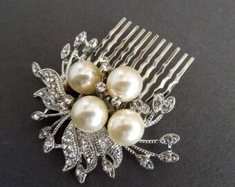 Ivory swarovski Pearls bridal Hair Comb leaf Rhinestone Brooch hair comb Wedding Hair Comb Pearl bridal Hair Comb crystal Hair Comb JULIE