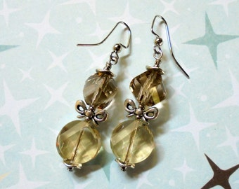 Smokey Topaz and Silver Earrings (3197)