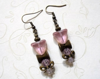 Pink and Brass Bow Boho Earrings (3373)