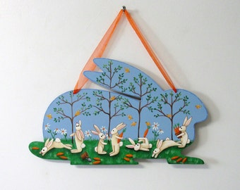 Bunnies and Carrots, Folk Art Bunnies, Orange Carrots, Bunny Shaped Wood Hanging, Hand Painted, Spring Sign, Yellow Birds,Hanging Easter Art
