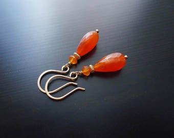 Carnelian Earrings, Dangle Earrings, 14kt Gold Filled
