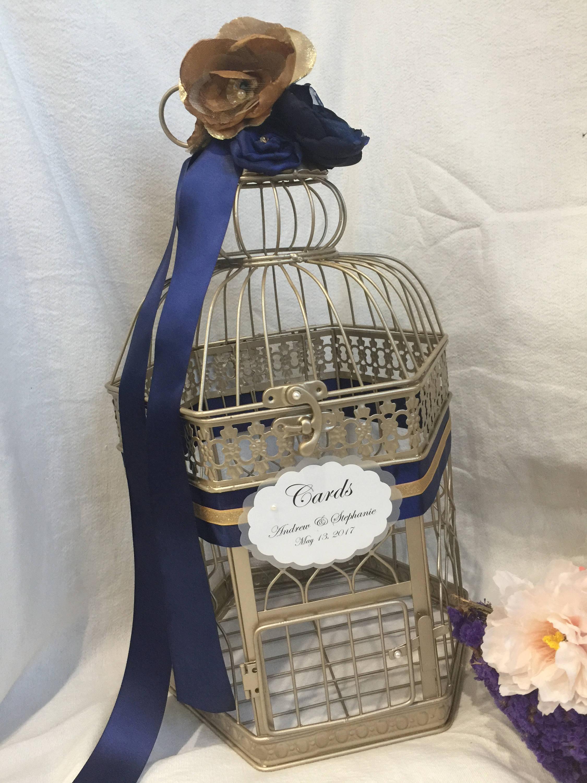 Champagne Gold Birdcage Wedding Card Holder Gold Navy Blue