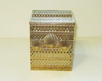 Vintage Tissue Box Holder Cover Antiqued Golden Filigree Shell Decor Metal Kleenex Box Holder