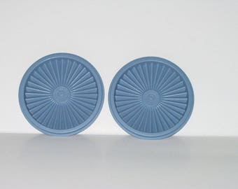 Vintage Tupperware Replacement Lid Blue Servalier Round 5 inches Pair Two Lids Retro Kitchen 3172