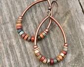 Bohemian jewelry boho jewelry boho earrings hoop earrings earthy jewelry copper jewelry earrings copper earrings gift for her