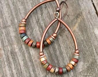 Boho earrings, boho earrings, stone jewelry, earthy jewelry, copper jewelry, copper earrings, gift for her