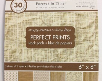 6 x 6 Scrapbook Paper Pack - Tan Patterned Paper