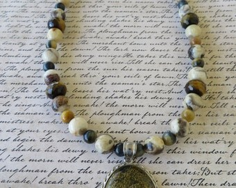 Feldspar Agate And Tigers Eye Beaded Necklace With Jasper Pendant