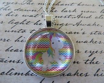 Bright Unicorn And Rainbow Chevron Print Pendant With Silver Toned Chain