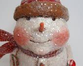 Paper Mache Snowman - Whimsical Snowman - Folk Art Snowman - OOAK Snowman - Snowman Figurine