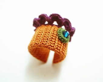 Irish Crochet Lace Jewelry (Lace Fantasia 2-b) Crochet Ring Statement Ring Fiber Ring