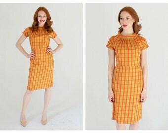 1950s High Waist Orange & Chartreuse Dress- 30, Wiggle Dress, Cotton Retro Pinup, Striped, High Collar
