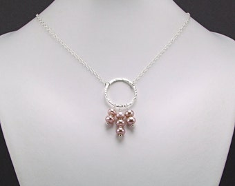 Lavender Freshwater Pearl Sterling Silver Necklace - N548