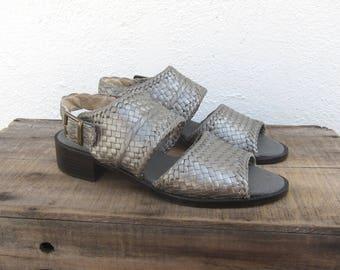 90s Braided Leather Sandals Modern Minimal Chunky Heel Gun Metal Silver Leather Ladies Size 6.5