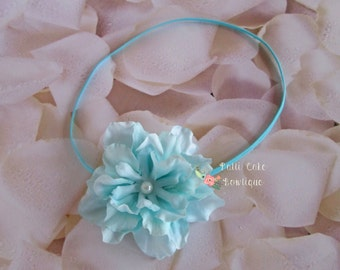 Baby Headband, Aqua Flower Headband, Baby Girl Headband, Photo Prop, Baby Shower Gift, Infant Headband, Newborn Headband, Girls Headbands