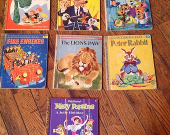 Lot of 7 1950's Little Golden Book Books