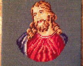 Vintage Religious Needlepoint Jesus Art Picture