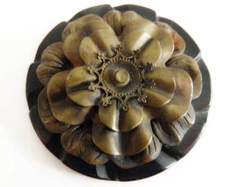 Black Bakelite Button OME Brass Tiered Flower Large