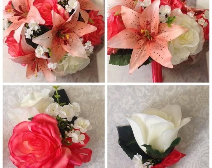 New Artificial Guava Bridal Bouquet Set, Silk Guava Wedding Flowers, Guava Bouquets, Coral Bridal Flowers
