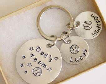 Personalized Father's Day Gift from Kids, Keychain, Key Fob, Customized Keychain, Personalized Baseball Keychain, Dad's Team Keychain Gift
