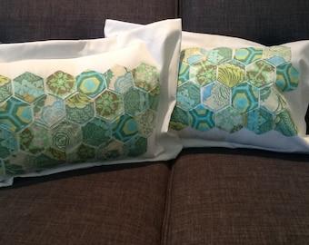 Hexies Green Blue Floral Amy Butler Fabrics Rectangular Accent Pillows with Insert
