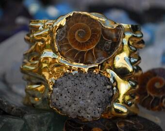 GOLD MELT CUFF  /// Gemstone Cuff /// 24kt Gold Electroformed