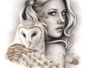 The Owls Bird Owl Girl Art Print Emo Fantasy Girl Zindy Nielsen