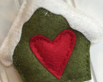 Birdhouse Cottage Wool Felt Ornament | Christmas Winter | Snowy Roof | Heart | Nature | Woodland | Rustic | Country | Handsewn | Gift Topper