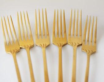 Vintage Gold Flatware Dinner Fork Set Dirilyte Empress Cutlery