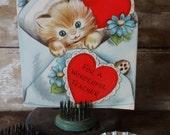 Vintage Valentine Teacher Kitten Sweet 1950's or Earlier Retro