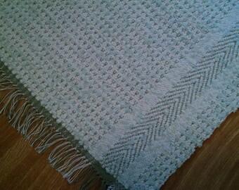 Handwoven rag rug, sage green, reversible rug