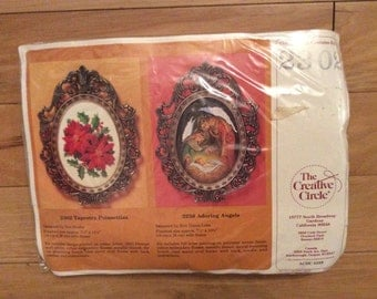 """Creative Circle - Tapestry Poinsettias, 7 1/2"""" x 10 1/4 with Frame"""