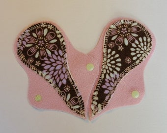 """TWO Thong Reusable Cloth Liners - flannel - """"flowers"""""""