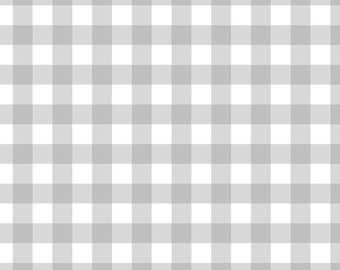 """100% Cotton - 3/16"""" Printed Darling Gingham - White/Soft Grey - by the YARD - Cotton Fabric"""