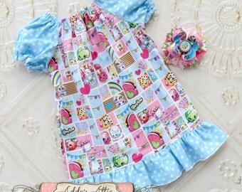 Shopkins Peasant Dress, Toddler Shopkins Dress, Toddler Peasent Dress, Girls Dress