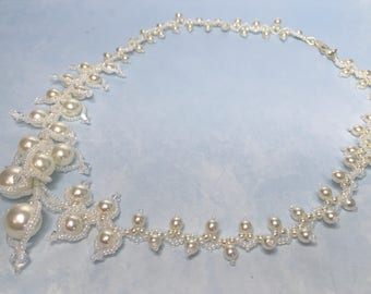 Dancing White Glass Pearls and Swarovski crystals necklace