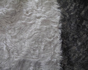 "1/4 yard - 18"" x 27""- Medium Density Mohair with Curly Finish - 3/4"" pile SILVER GREY color cheswickcompany"