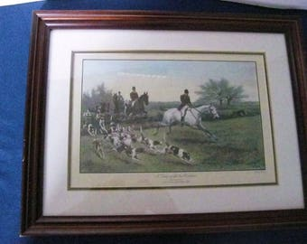 "British Equestrian Horse Decor Framed Print Thomas Blinks Fox Hunt ""Hark Away"" A Day with the Oakley DBL. Mat Professional  #ER"