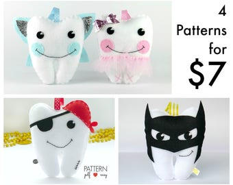 Tooth Fairy Pillow Sewing Patterns, Craft Fair Pattern, Tutu Tooth Cushion, Tooth Shaped Pillow,  Plushie, Softie
