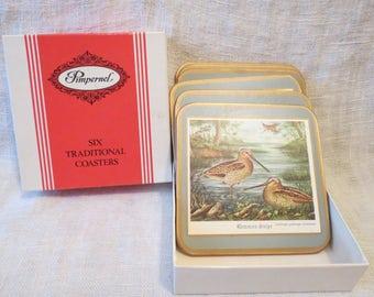 "Pimpernel Water Birds Cork Coasters 6"""