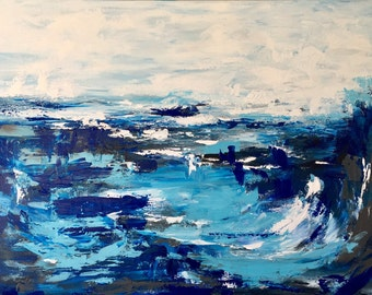 Ocean Abstract  Original Acrylic Painting on 36 x 24  Gallery Canvas Ready To Ship